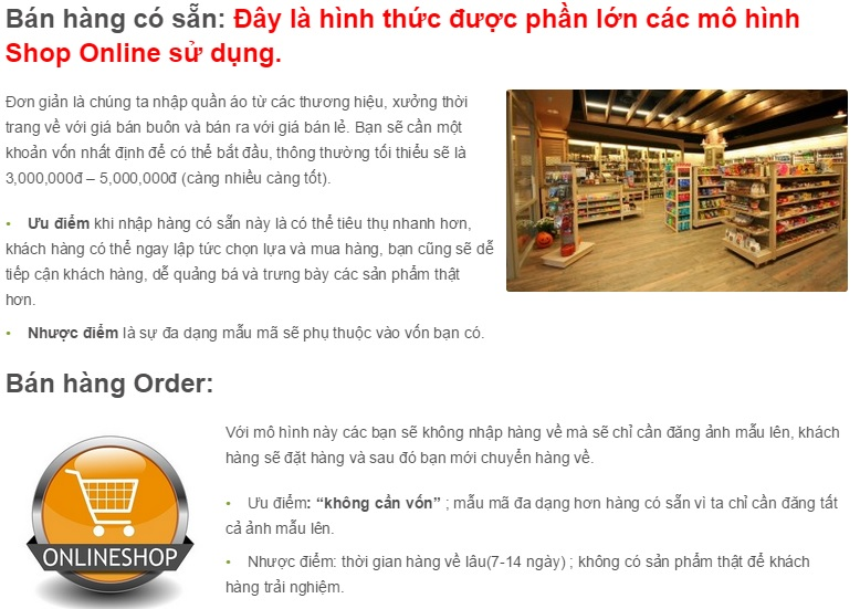 bài đăng bán hàng tiêu chuẩn khi mở shop Online